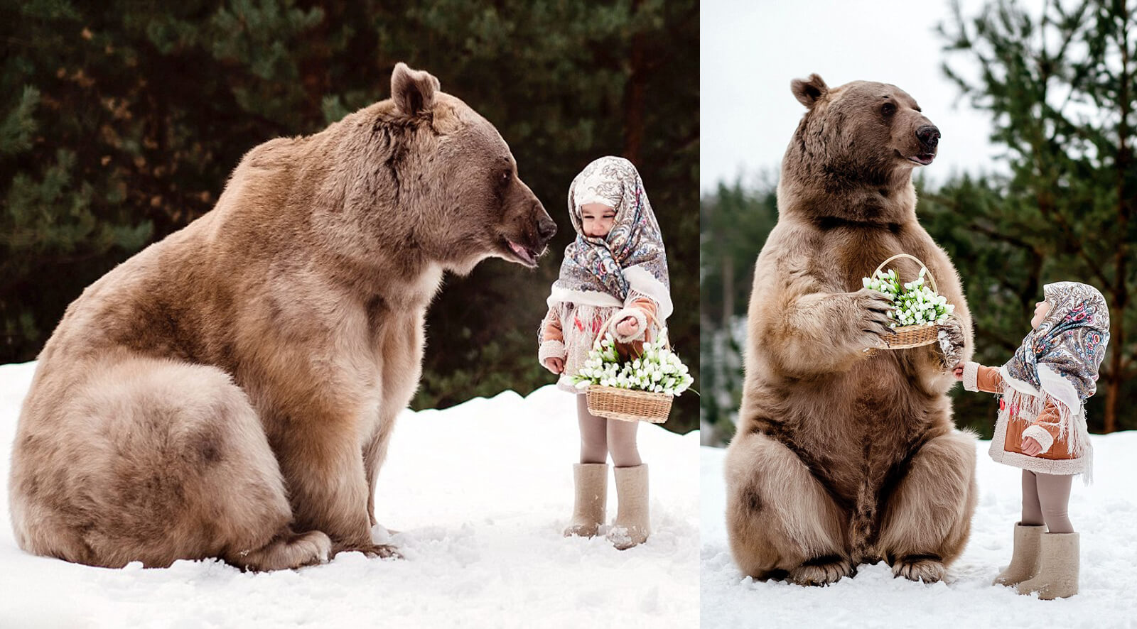 Astounding Photos Of Children Posing With Huge Grizzly Bear