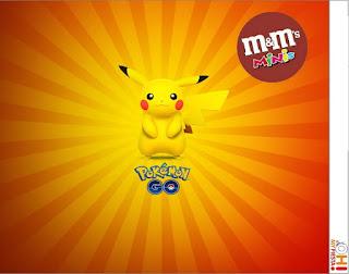 Etiqueta M&M de Pikachu para imprimir gratis.