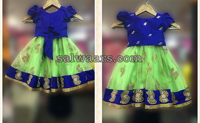 Light Green lehenga Knot Blouse