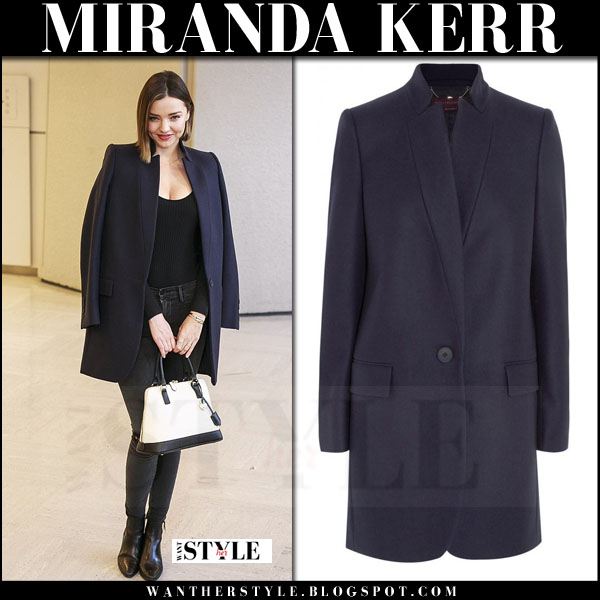 Miranda Kerr in dark navy stella mccartney bryce short coat, ripped jeans and ankle boots what she wore model style