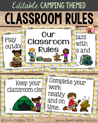 Camping themed Classroom Rule Posters