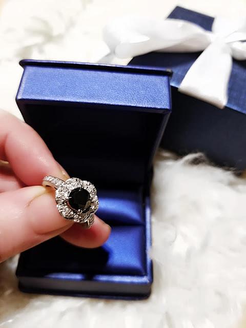 black diamond engagement halo ring