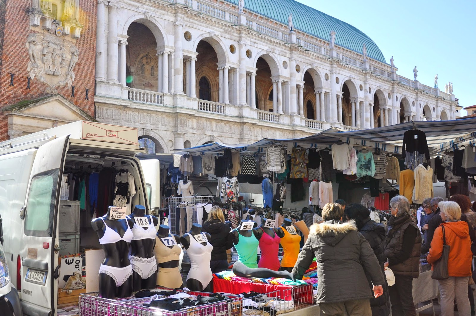The underwear stall at the Thursday market in Vicenza, Italy
