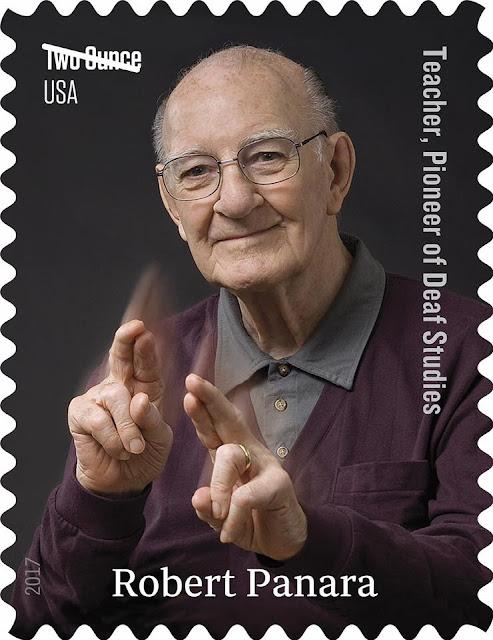 """Imagen de Robert Panara en el sello postal expresando en lengua de signos americana la palabra """"respeto"""""""
