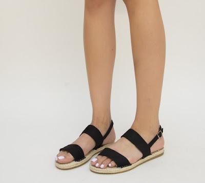 sandale negre din piel eco intoarsa