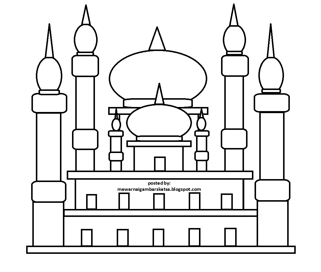 Mewarnai Gambar Tempat Ibadah Berdoa Masjid Download Sketsa