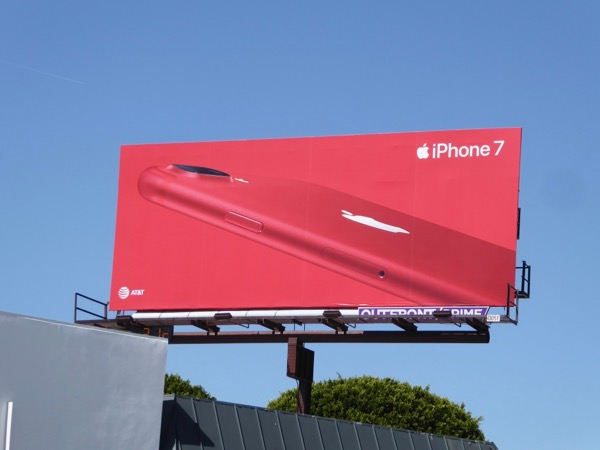 Red iPhone 7 billboard