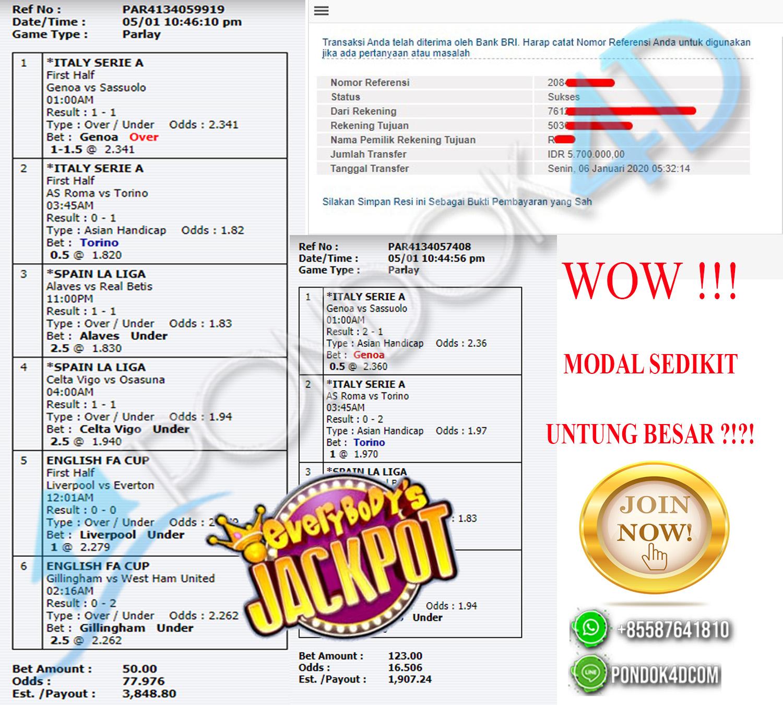 MODAL 173 RIBU TEMBUS PARLAY LAGI !!