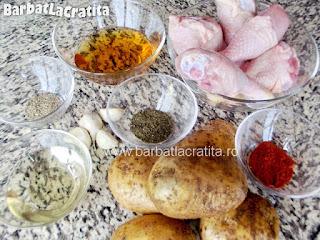 Pulpe de pui la cuptor cu cartofi ingrediente reteta
