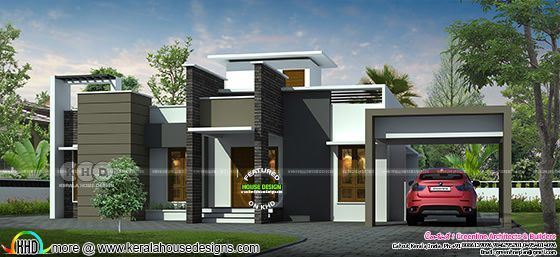 1888 sq-ft 3 bedroom flat roof modern house