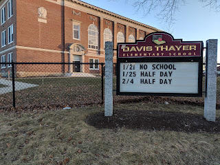 Davis Thayer sign before the snow
