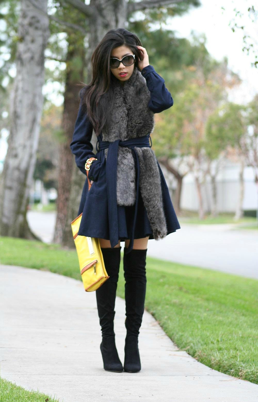 Forever 21 Double Breasted Belted Flare Coat with Suede Over the Knee Boots