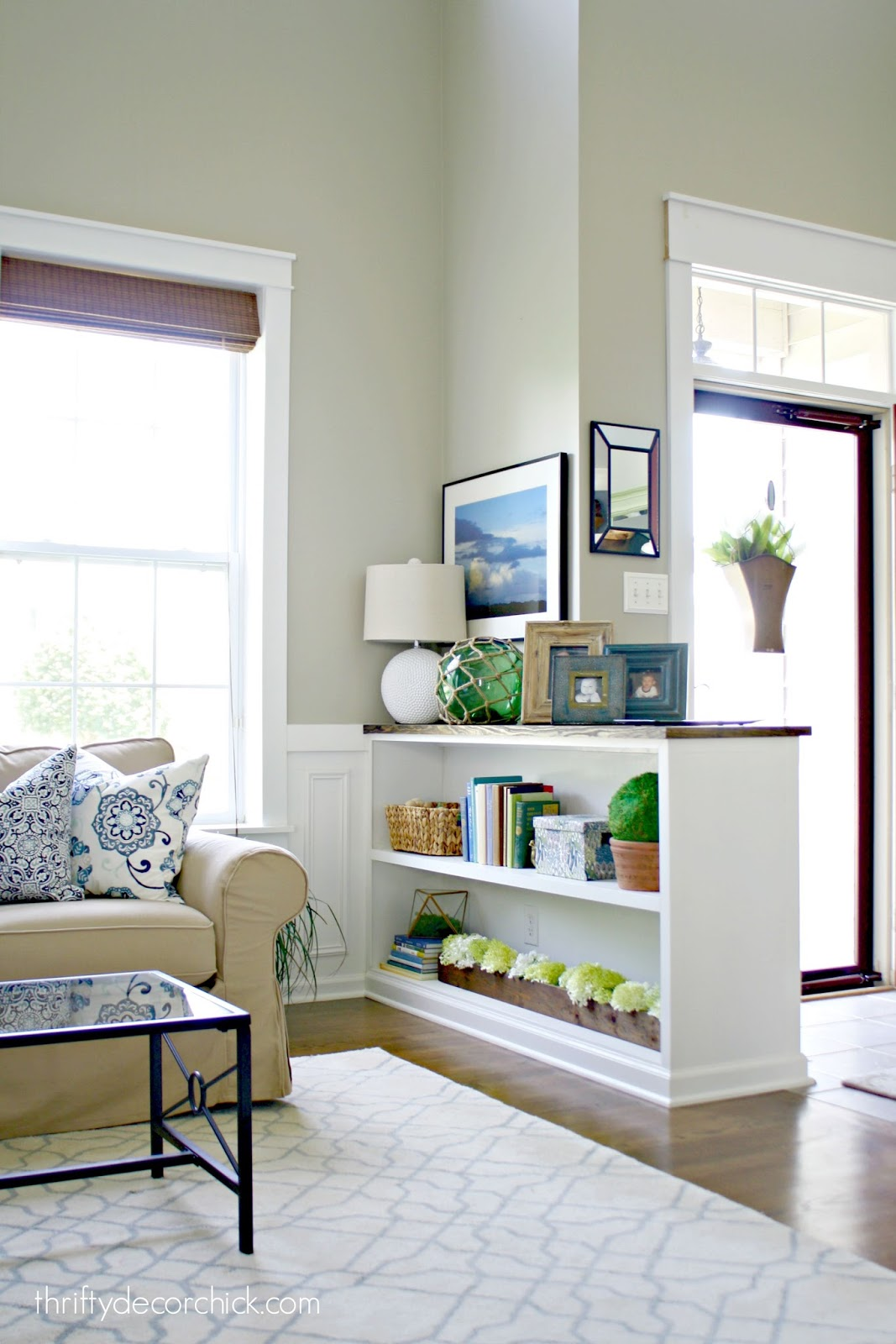 How To Build A Half Wall With Built In Shelves