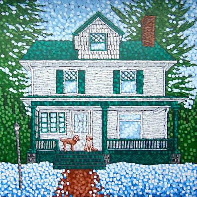 Man's Best Friends painting by duluth artist aaron kloss, house painting, painting of a house, custom dog painting