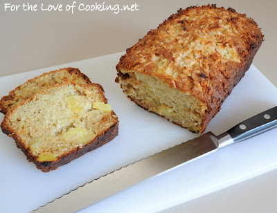 Pineapple, Banana, Coconut, and White Chocolate Chip Bread