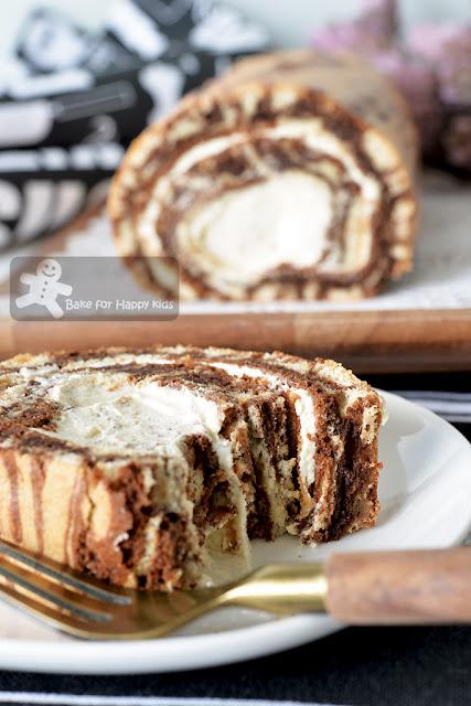 marble mocha chiffon Swiss roll