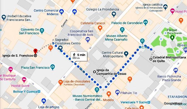 Mapa do roteiro de visitas à Catedral de Quito, La Compañia e Igreja de San Francisco