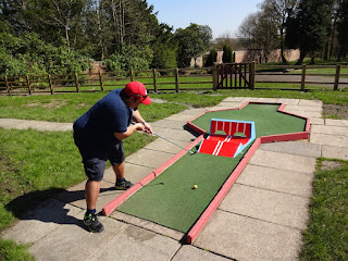 Scott Lancley on his way to victory on Haigh Woodland Park's Crazy Golf course in Wigan