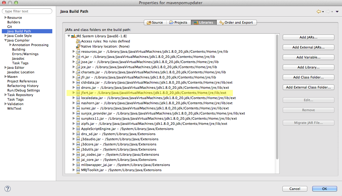 Bekwam Blog: Access Restriction in Eclipse: The Type FXML is not API