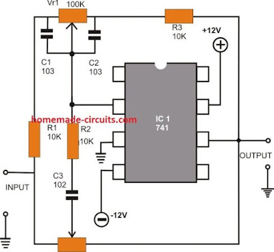 active tone control using opamp circuit