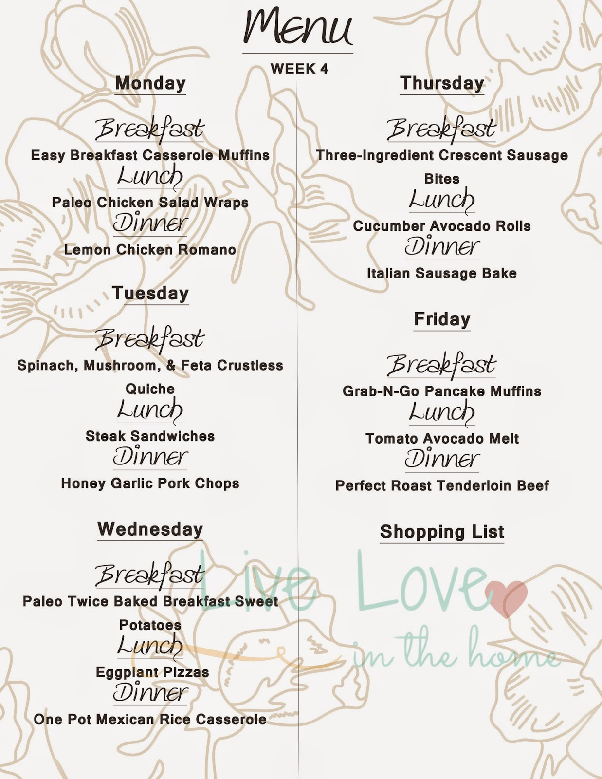 Menu Monday - Free Printable Menu Week 4 | Live Love in the Home