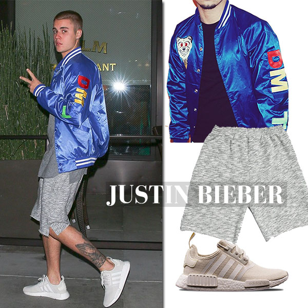 Justin Bieber in satin blue varsity jacket and grey shorts and adidas mnd r1 sneakers celebrity male style