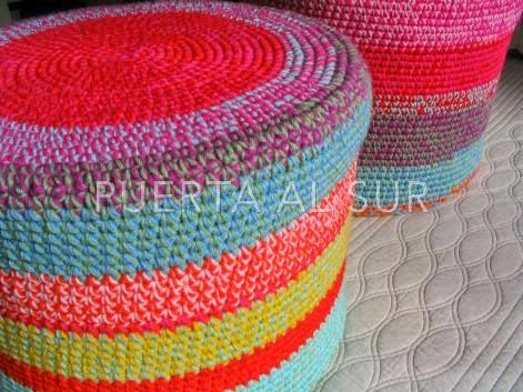 Puerta al sur puff tejidos al crochet para el cuarto de - Tejidos para tapizar sillas ...