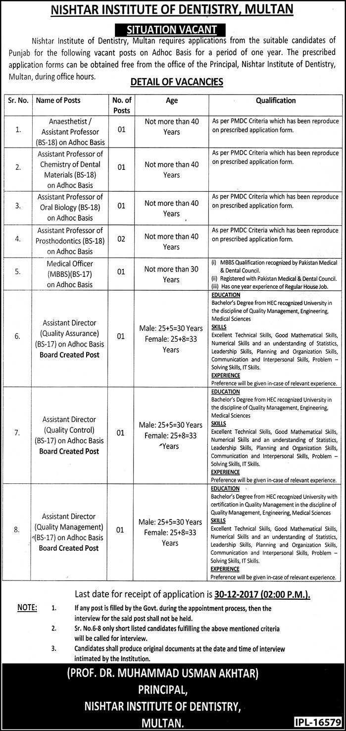 Jobs In Nishtar Institute Of Dentistry Multan Dec 2017