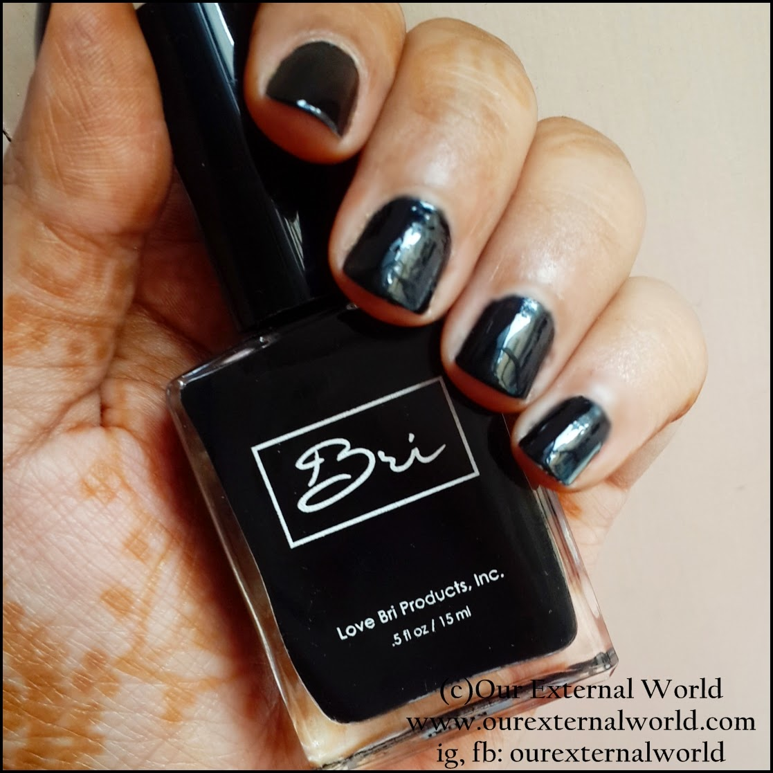 Review & Swatch: Love Bri Products Nail Polish #2 Midnight, black nail polish