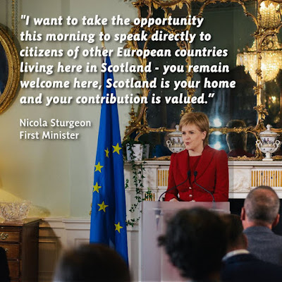 EU citizen remain welcome after #Brexit vote. #NicolaSturgeon #TheYESMovement #ScotRef