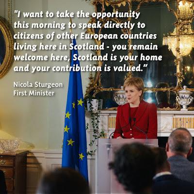 EU citizen remain welcome after #Brexit vote. #NicolaSturgeon #TheYESMovement #ScotRef