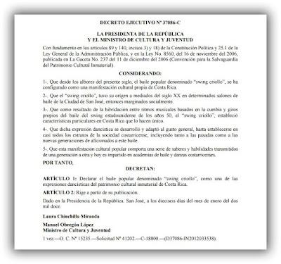decreto 37086-c, declaratoria swing criollo patrimonio cultural inmaterial de costa rica,