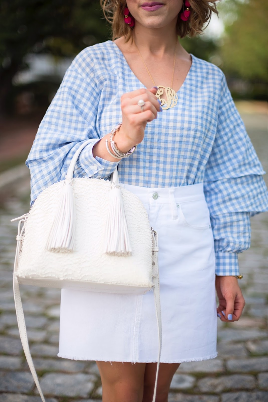 Gingham Ruffle Sleeve Top - Click through to see more on Something Delightful Blog