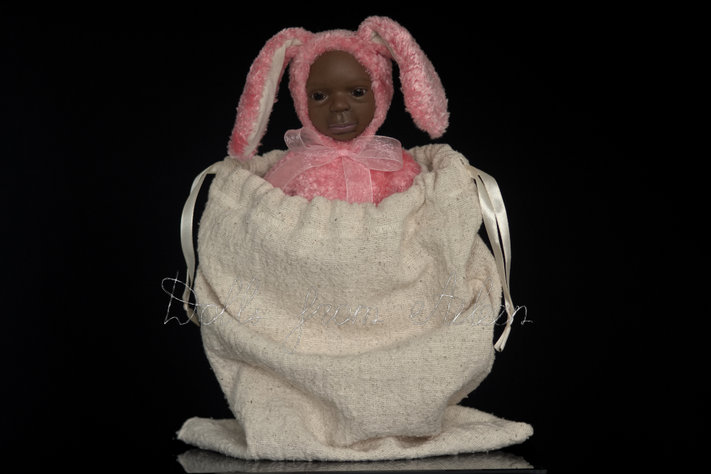 ooak Easter Bunny teddy doll peaking out of gift bag