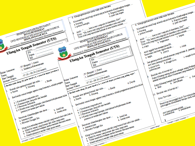 Soal UTS SD Kelas 1 Semester 2 Full Semua Pelajaran