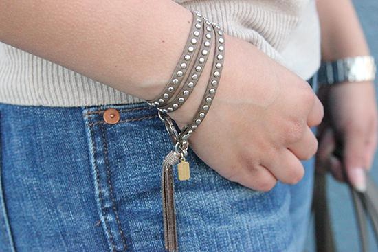 E. Kammeyer Accessories Leather Studded Wrap Bracelet