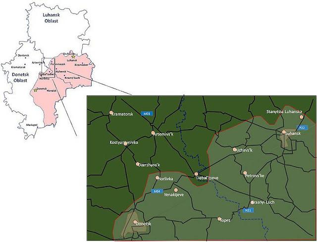 Η θέση του Debal'tseve στη λεκάνη του Donets