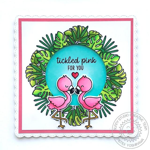 Sunny Studio Stamps Fabulous Flamingos Wreath Window Card by Mendi Yoshikawa (using Fancy Frames Square Dies)