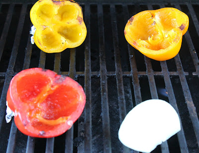 peppers, roasting, onion