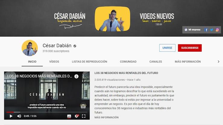 Canal de César Dabián en Youtube