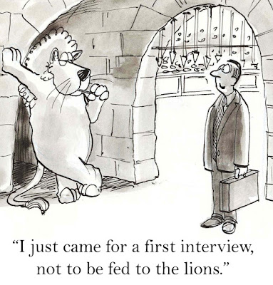"Cartoon of a businessman saying to a lion at the Roman Colosseums, ""I just came for a first interview, not to be fed to the lions."""