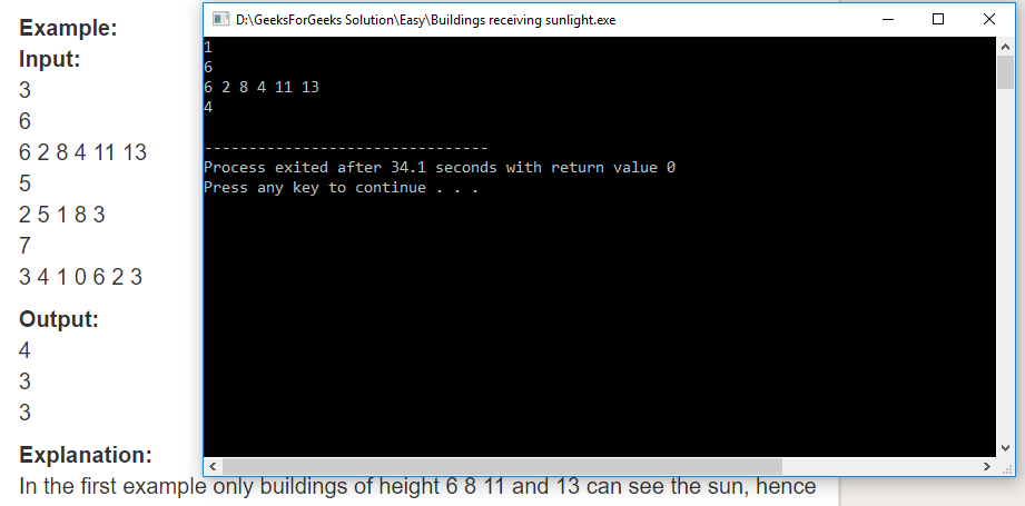 "Geeksforgeeks Solution For "" Buildings receiving sunlight """