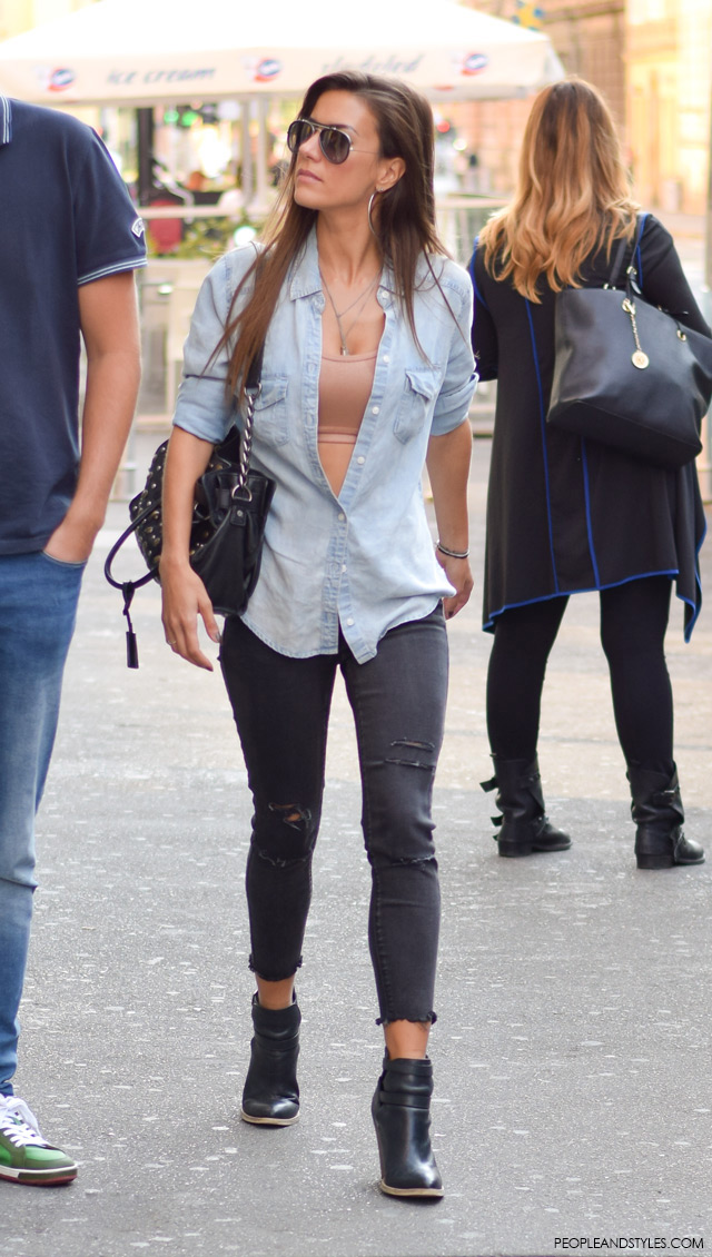 How to wear neutral crop top and light wash denim shirt. Street style, ulična moda rujan 2015, Zagreb by peopleandstyles.com
