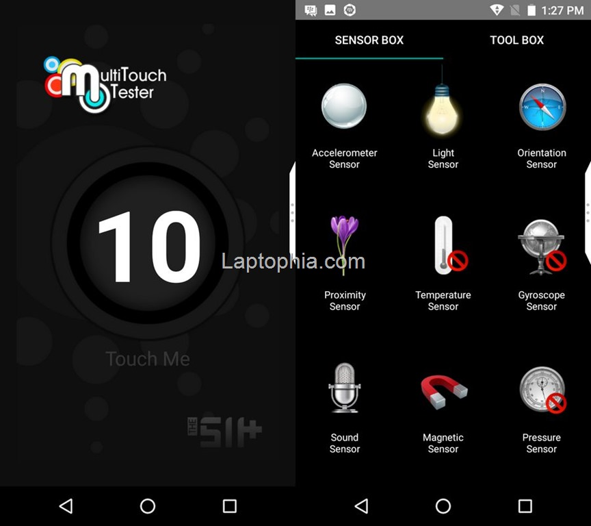 Multitouch Tester & Sensorbox for Android BlackBerry Aurora