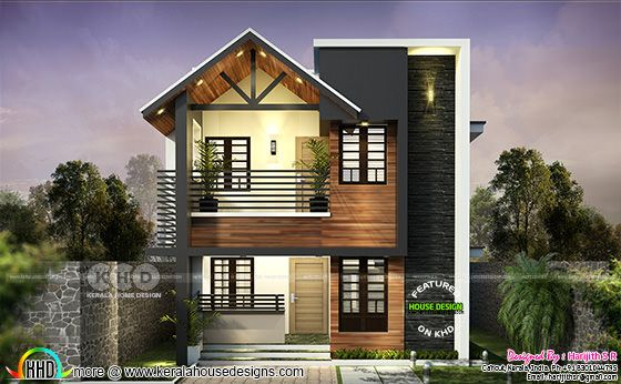 Simple mixed roof contemporary home at kollam