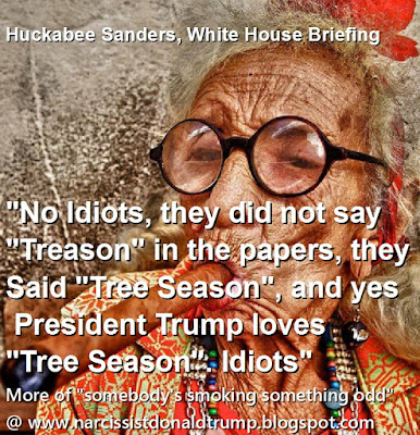 funny trump white house meme: kellyanne conway sarah huckabee sanders comments on media use word Treason: