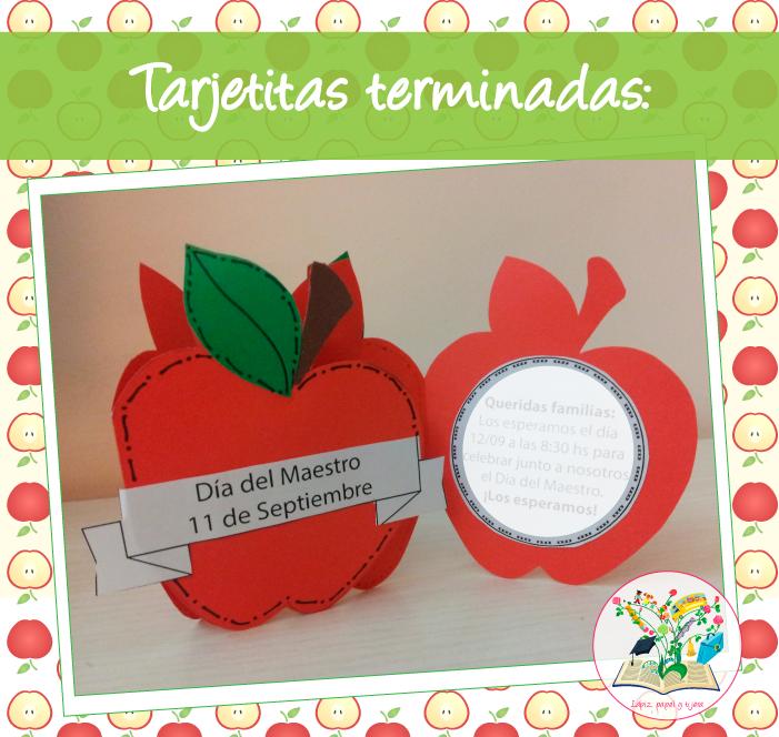 Lápiz Papel Y Tijera Día Del Maestro Tarjetas Manzanita
