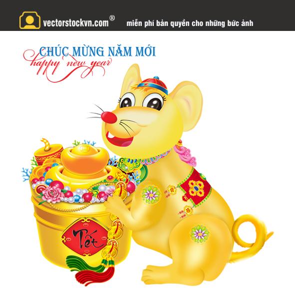 Vector chuột ngồi hũ vàng