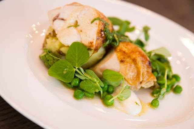MAIN COURSE Chicken with Jersey Royals, asparagus and broad beans