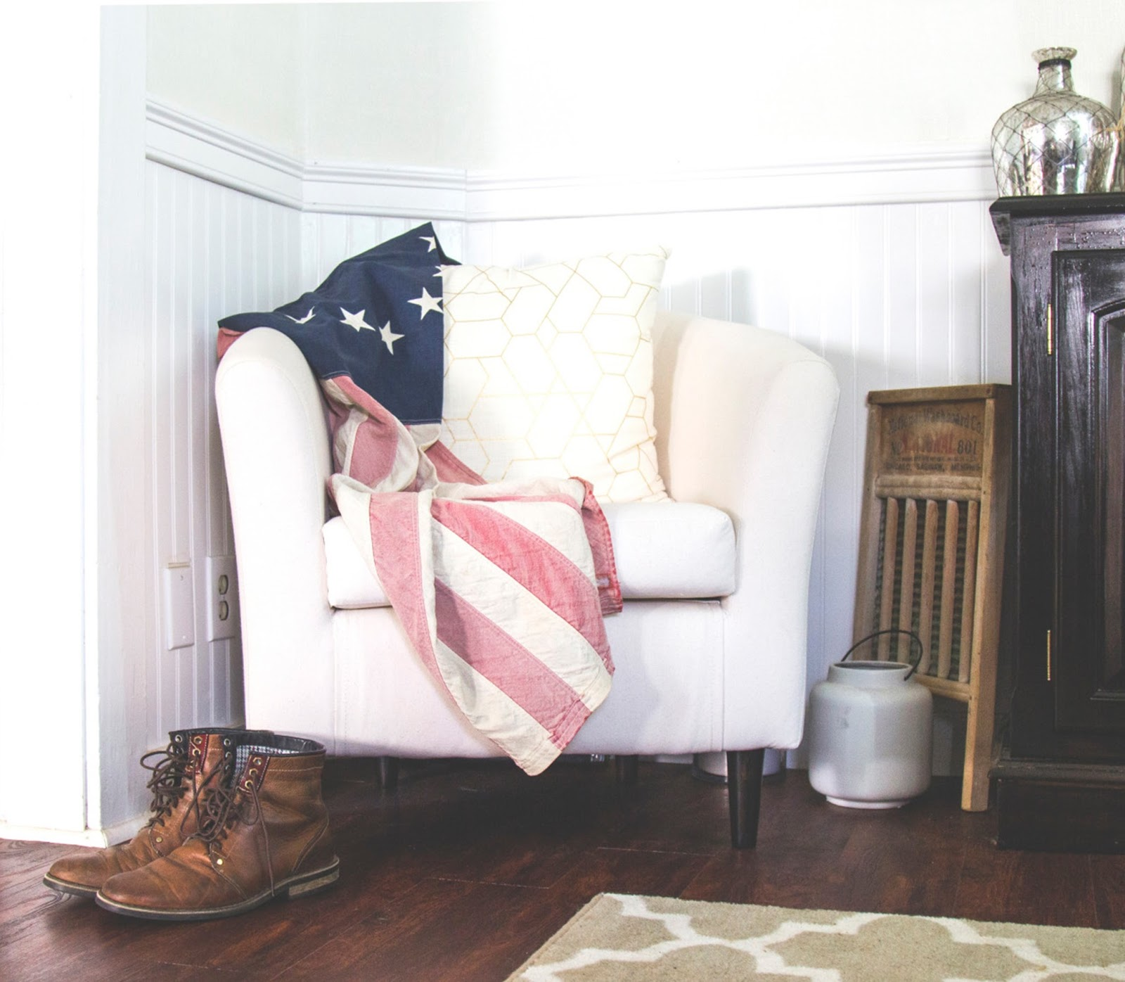 Chair with American flag and boots - interior styling mistakes - motherdistracted.co.uk